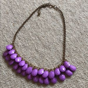 Purple teardrop statement necklace